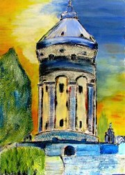Mannheim, Gemälde, Malerei, Blau Serie, Leasing, Wasserturm, Pflanzen, Altes, Rathaus, Nationaltheater, Kalender, Kunstdruck, Reproduktion